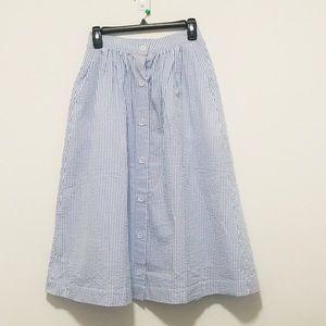 HM Seersucker Button Front Skirt Sz. 36